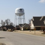 the meadows subdivision with trumann watertower in background