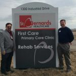 st bernards firstcare sign with Dr. Dow and Dr. Vickers