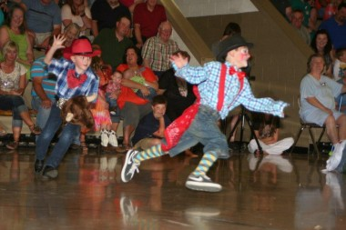 kid clown at stick horse rodeo