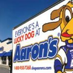 aaron's rental storefront and delivery truck