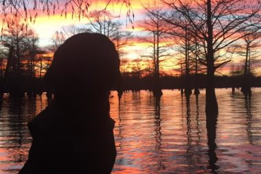 labrador retriever sitting on stand at sunrise on the saint francis river