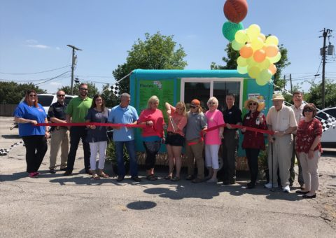 ribbon cutting at summer breeze shaved ice