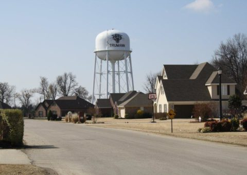 trumann water tower in background of the meadows subdivision