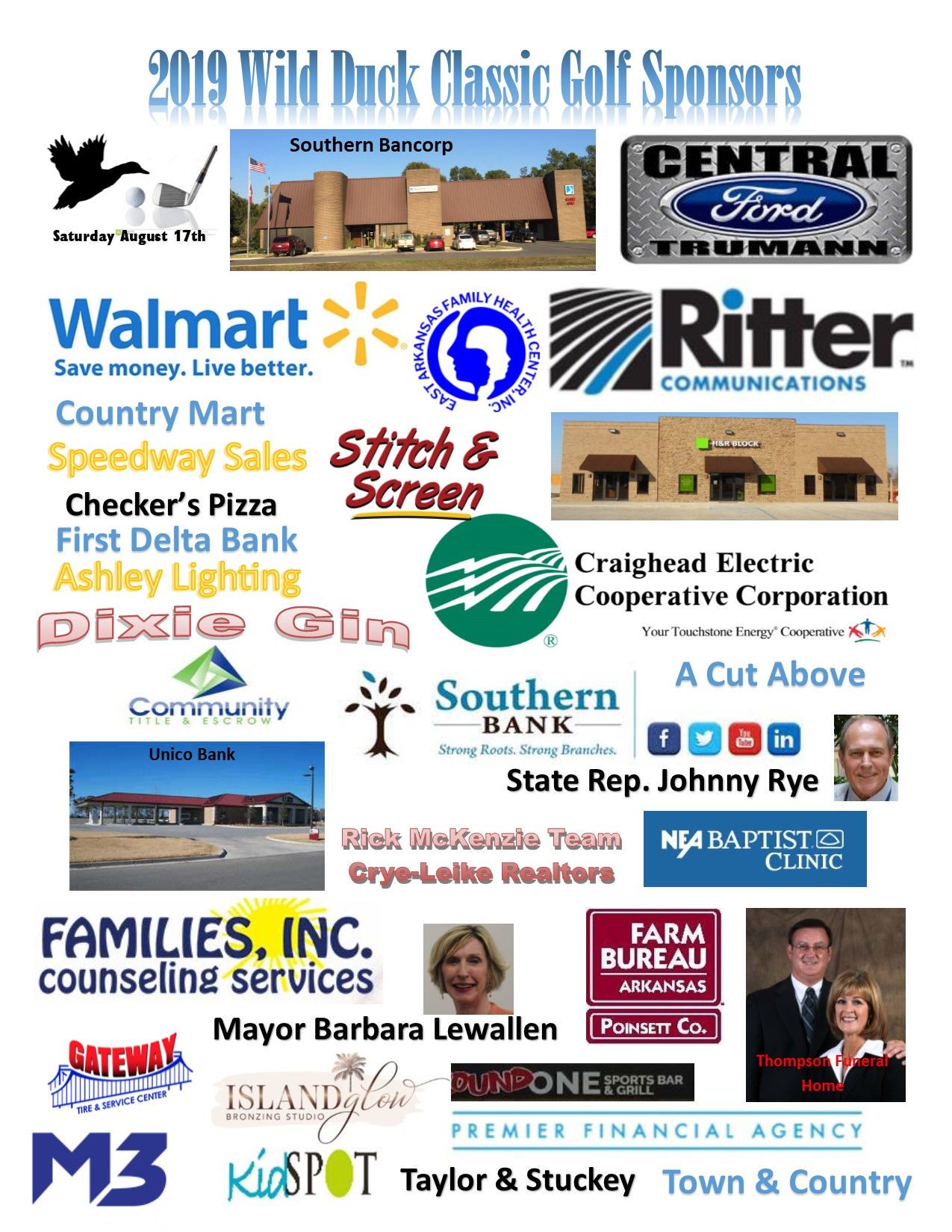 2019 Sponsors of the Wild Duck Classic Golf Tournament