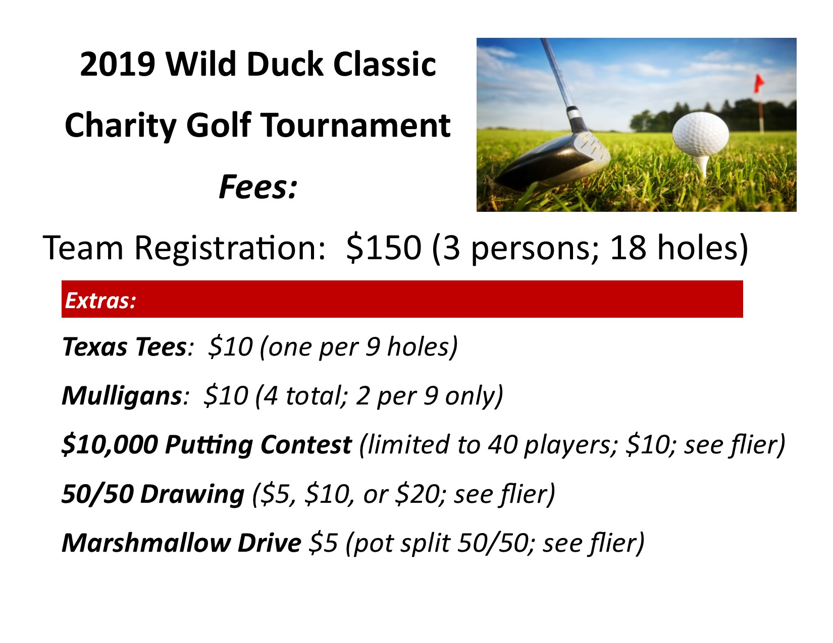 2019 Wild Duck Classic Golf Tournament Registration Costs flier