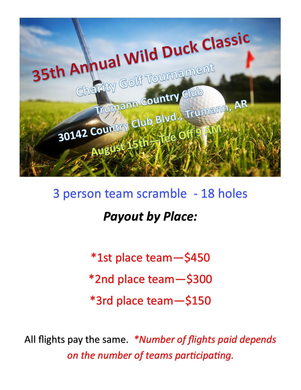 2020 Wild Duck Classic Payout flier