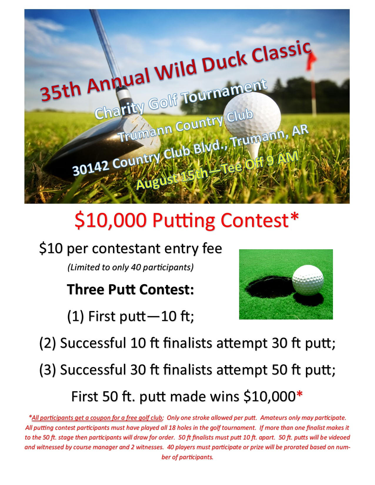 2020 Wild Duck Classic Putting Contest flier