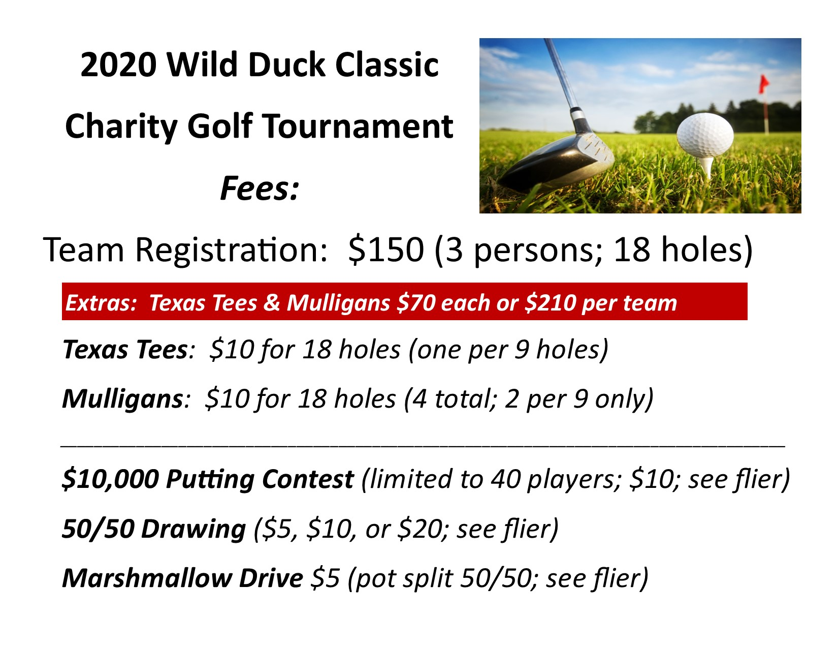 2020 Wild Duck Classic Golf Tournament Fees